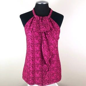 🆕 Ann Taylor - Hot Pink Silk Ruffle Halter Top